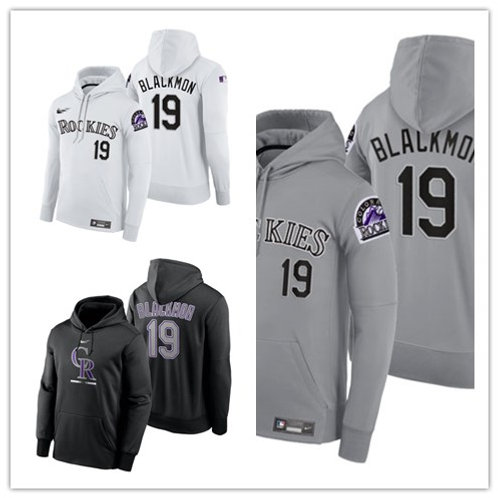 Men Charlie Blackmon Pullover Hoodie White, Gray, Black