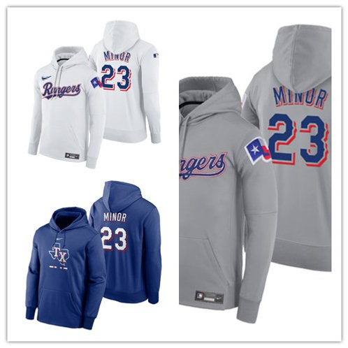 Men Mike Minor Pullover Hoodie White, Gray, Royal Blue