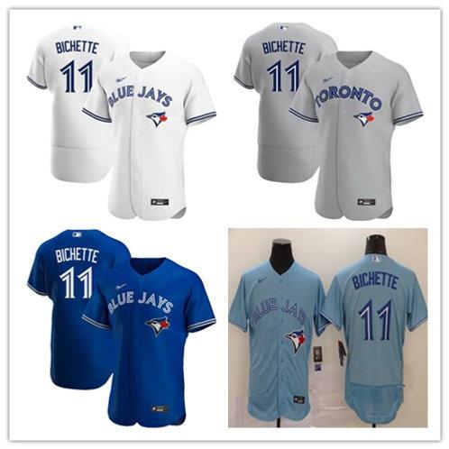 Men Bo Bichette 2020/21 Authentic White, Gray, Royal Blue, Light Blue