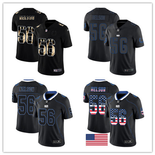 Men Quenton Nelson Rush USA Flag, Lights Out, Statue of Liberty, Impact