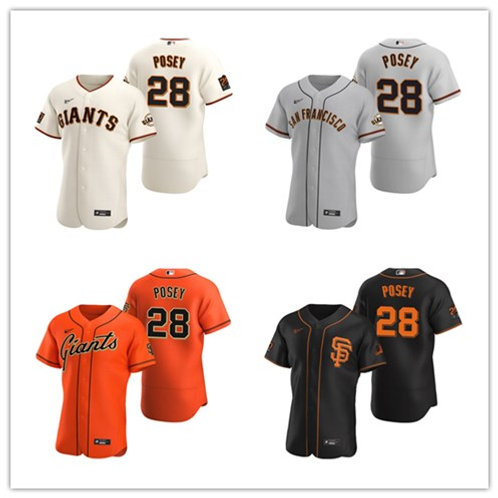 Men Buster Posey 2020/21 Authentic Cream, Gray, Orange, Black