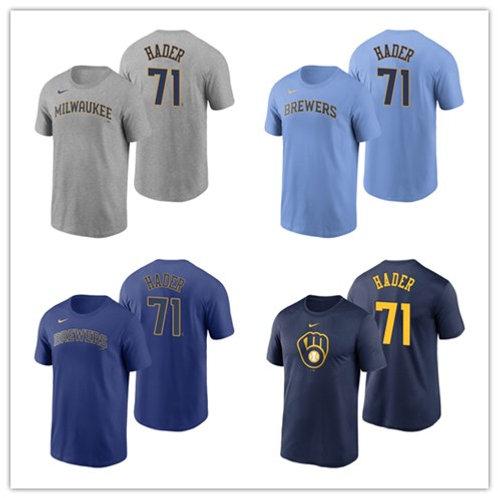 Men Josh Hader T-Shirt Gray, Light Blue, Royal Blue, Navy Blue