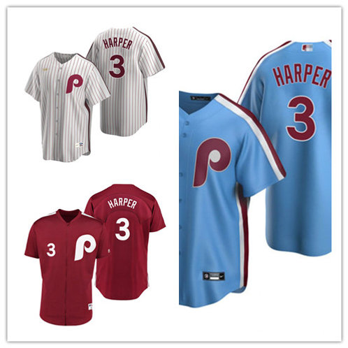 Men Bryce Harper Cooperstown White, Light Blue, Red