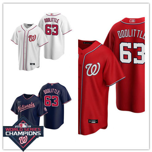 Men Sean Doolittle 2020/21 Replica White, Navy Blue, Scarlet
