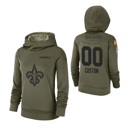 Women Custom Salute to Service Hoodie Olive