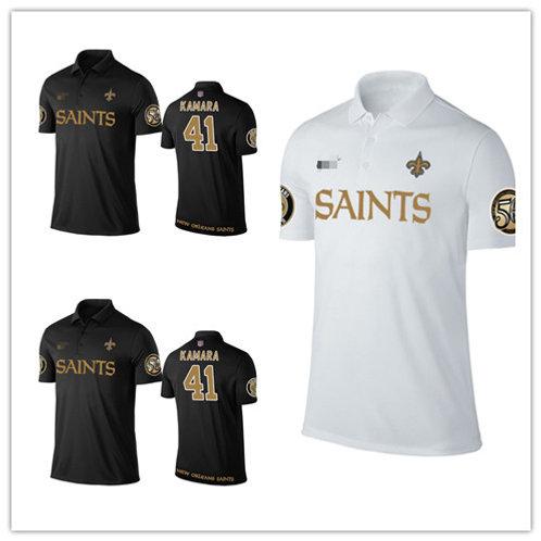 Men Alvin Kamara Shirt Polo Black, White