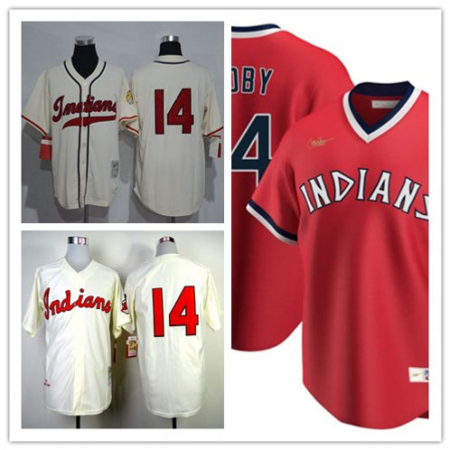 Men Larry Doby Throwback Cream, Red