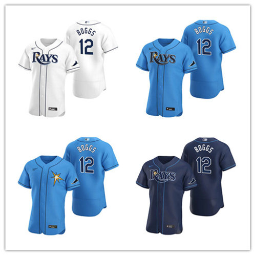 Men Wade Boggs 2020/21 Authentic White, Navy Blue, Light Blue