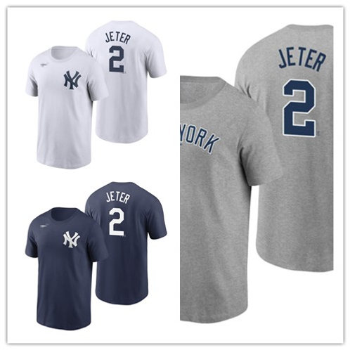 Men Derek Jeter T-Shirt White, Gray, Navy Blue