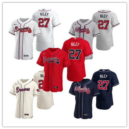 Men Austin Riley 2020/21 Authentic White, Gray, Cream, Scarlet, Navy Blue