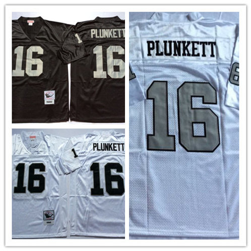 Men Jim Plunkett Throwback Black, White