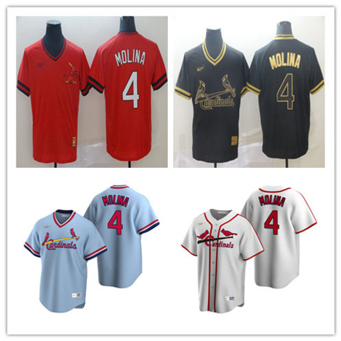 Men Yadier Molina Cooperstown White, Light Blue, Red, Black