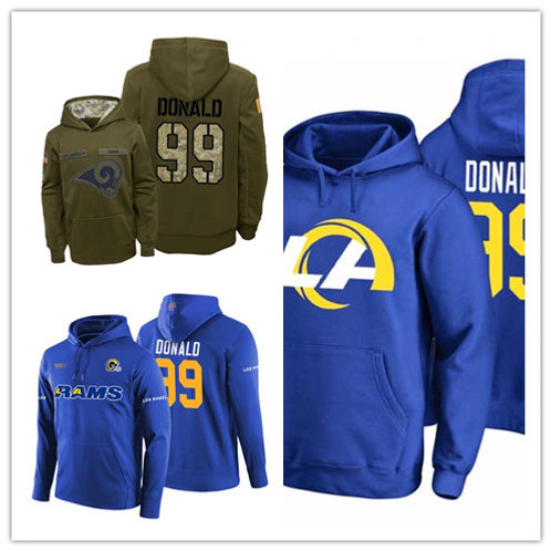 Men Aaron Donald Hoodie Salute to Service Olive, Logo Royal