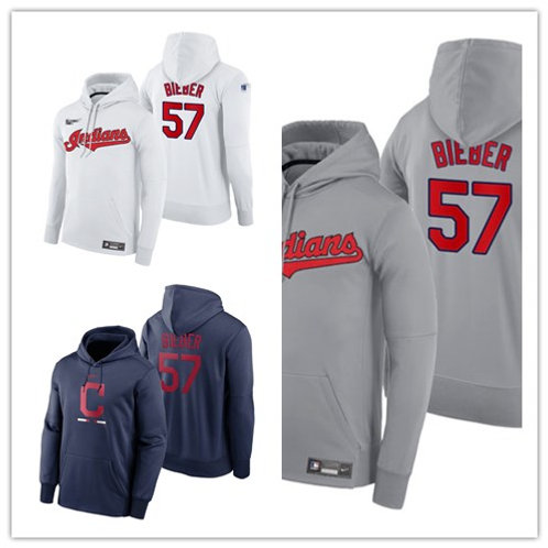 Men Shane Bieber Pullover Hoodie White, Gray, Navy Blue