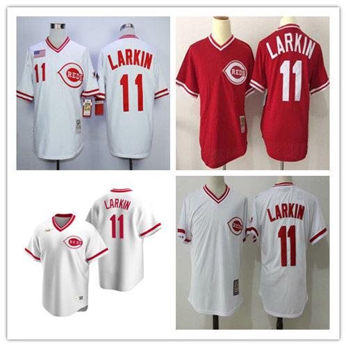 Men Barry Larkin Copperstown White, Red