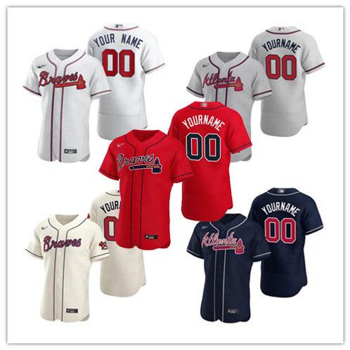 Men Braves Custom 2020/21 Authentic White, Gray, Cream, Scarlet, Navy Blue