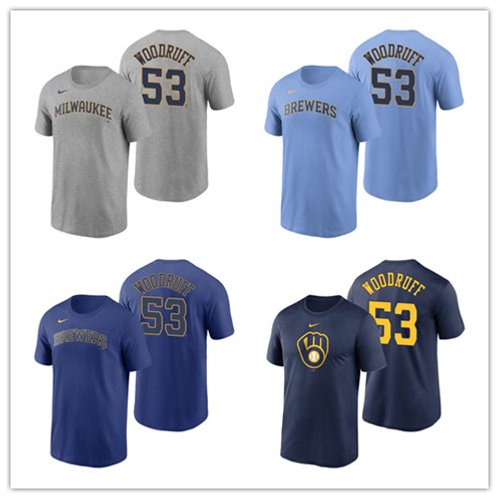 Men Brandon Woodruff T-Shirt Gray, Light Blue, Royal Blue, Navy Blue