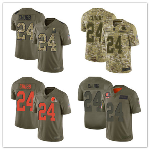 Youth Nick Chubb Limited Salute to Service Olive, Camo
