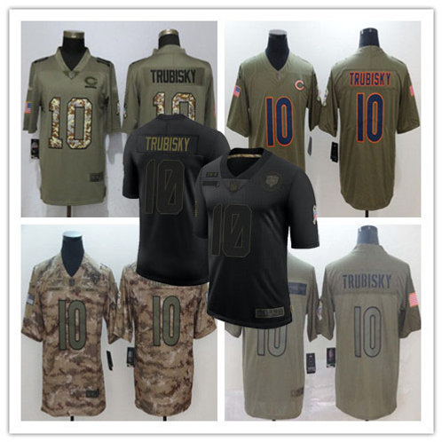 Men Mitchell Trubisky Limited Salute to Service Olive, Camo, Black