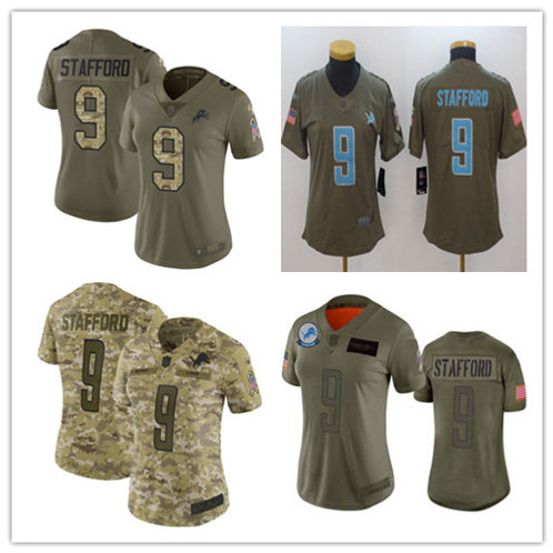 Women Matthew Stafford Limited Salute to Service Olive, Camo