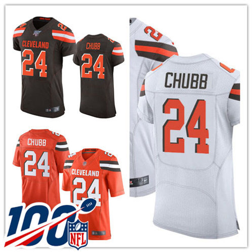 Men Nick Chubb Vapor Elite Brown, White, Orange