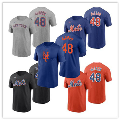 Men Jacob deGrom T-Shirt Gray, Royal, Black, Orange