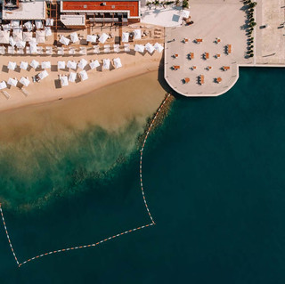 beach from drone