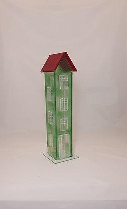 Glasshus. Grønt med rødt tak