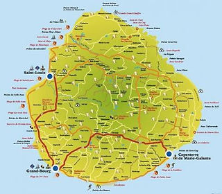 Plan de l'île de Marie-Galante, Guadeloupe
