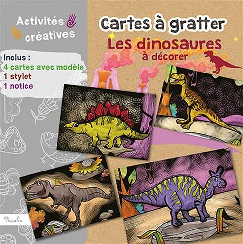 Cartes À Gratter Les Dinosaures À Décorer - Avec 4 Cartes Avec Modèle, 1 Stylet,