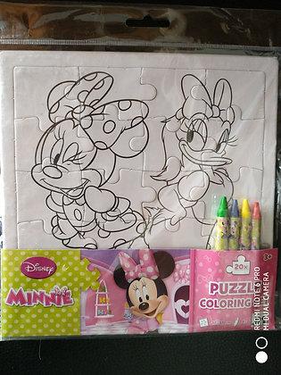 Set Puzzle a Colorier avec Crayons Disney/Minnie - Piccolia