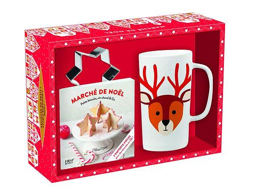 Coffret - Marché De Noël - Avec 1 Mug, 2 Emporte-Pièce Et 1 Livre De Recettes
