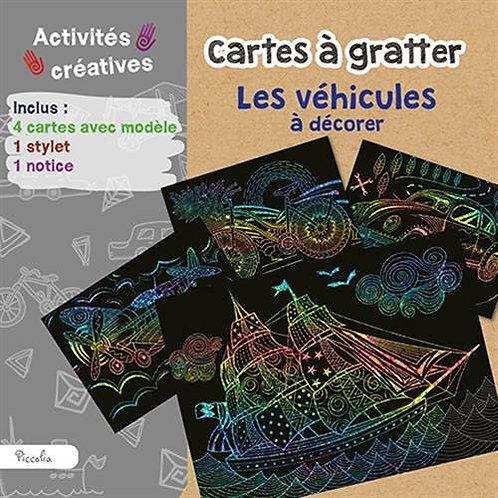 Cartes à gratter Les véhicules à décorer - Piccolia - Activités créatives enfant
