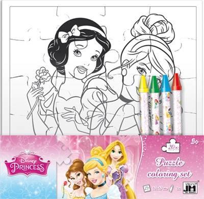 Set Puzzle a Colorier avec Crayons Disney/Princesses - Piccolia
