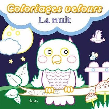 Livre enfant, Coloriage Velours - La nuit - Editions Piccolia