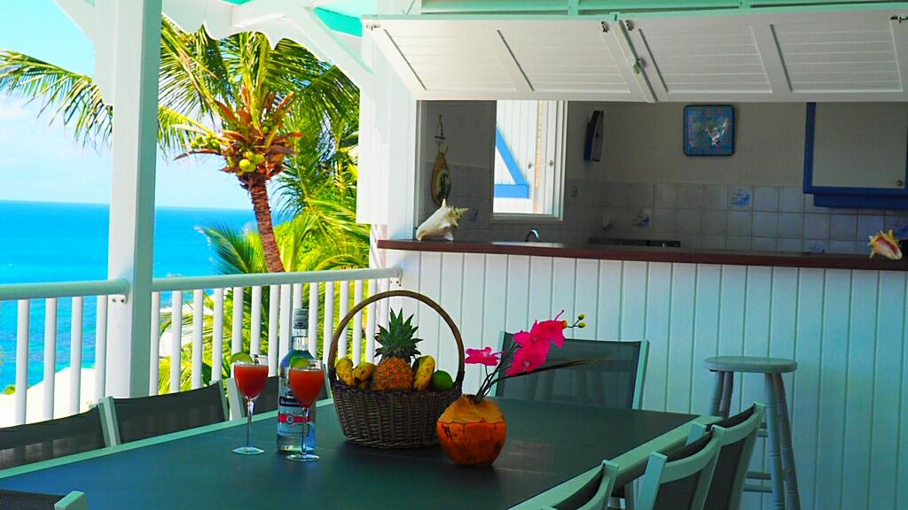 VUE  sur cuisine depuis  terrasse