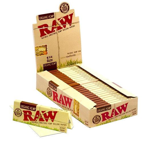 RAW ORGANIC HEMP 1 1/4 SIZE ROLLING PAPERS