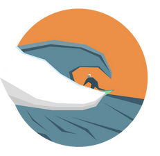 Beach surf low poly cornwall
