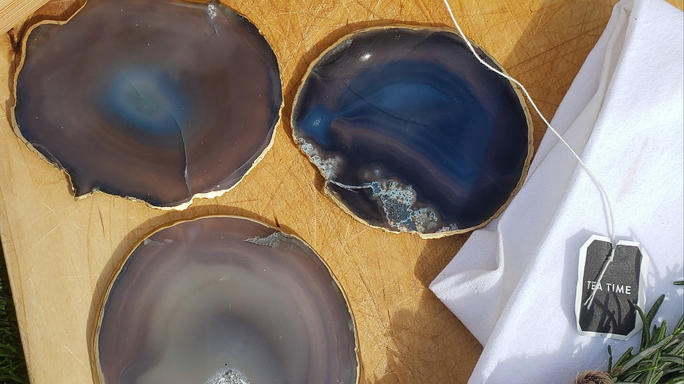Gray, Teal, Blue Individual Coasters