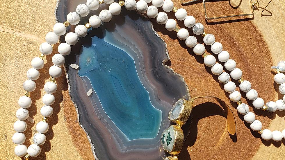 Howelite Necklace Bracelet Combo