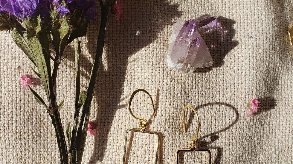 Rectangle Drop Earrings 14k Gold Vermeil