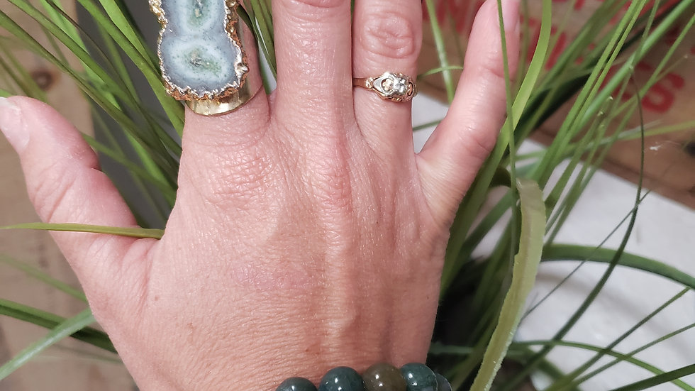 Green 14K Gold Agate Adjustable Ring
