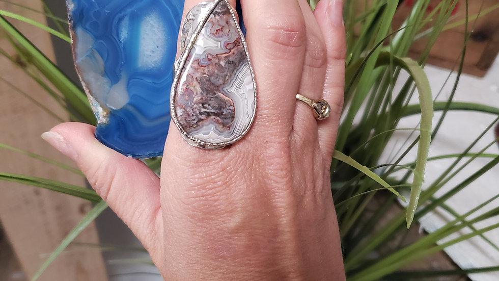 Rhodium Agate Adjustable Ring