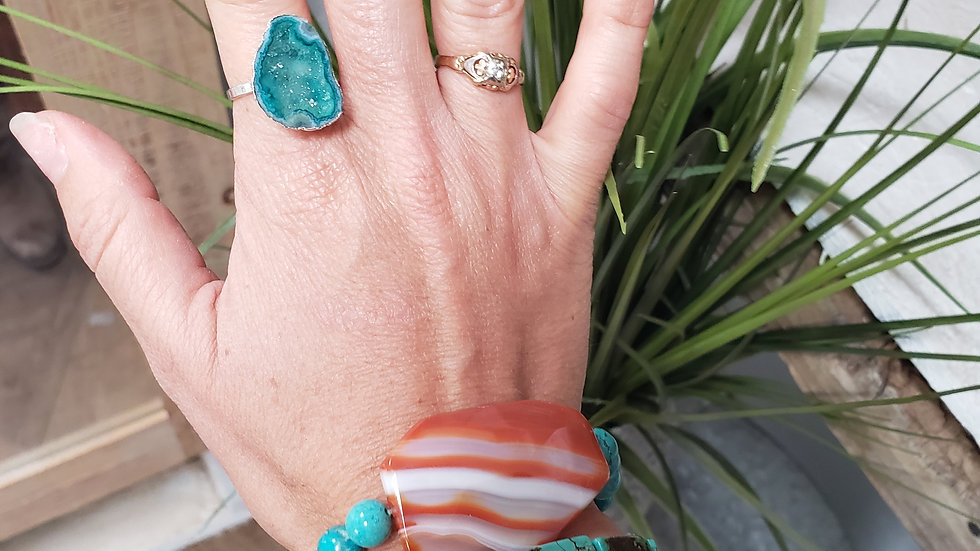 Green Agate Adjustable Ring in Silver