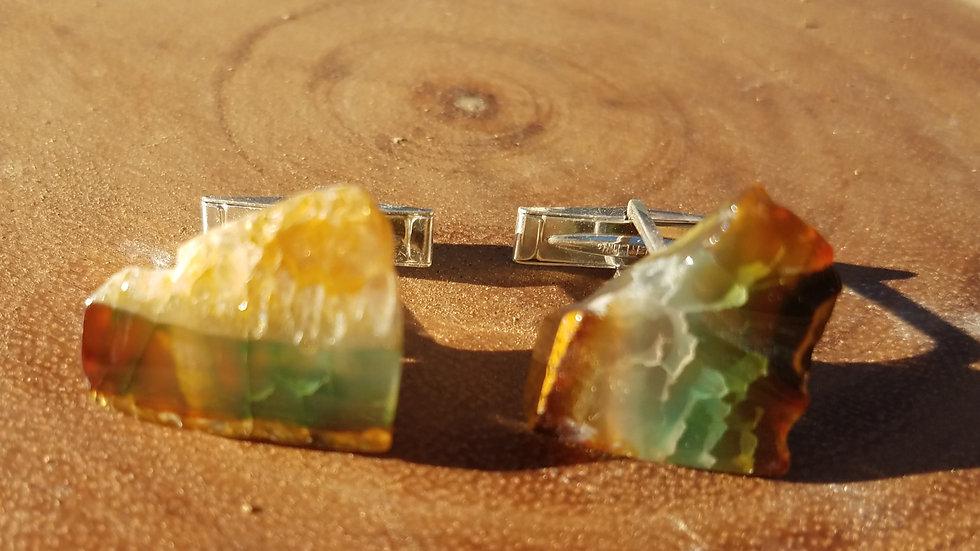 Green Agate Sterling Silver Cufflinks