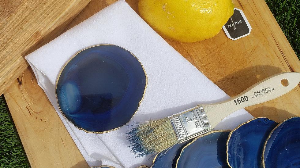 Blue Agate Coasters - 8 qty
