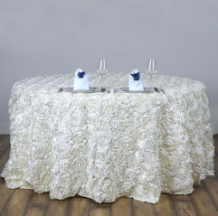 "Ivory Rosette 120"" Round Tablecloth"
