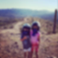 Two young girls on a desert tour
