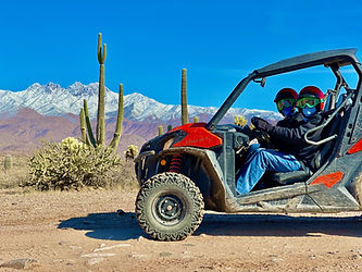 ATV Riding with snow on Four Peaks