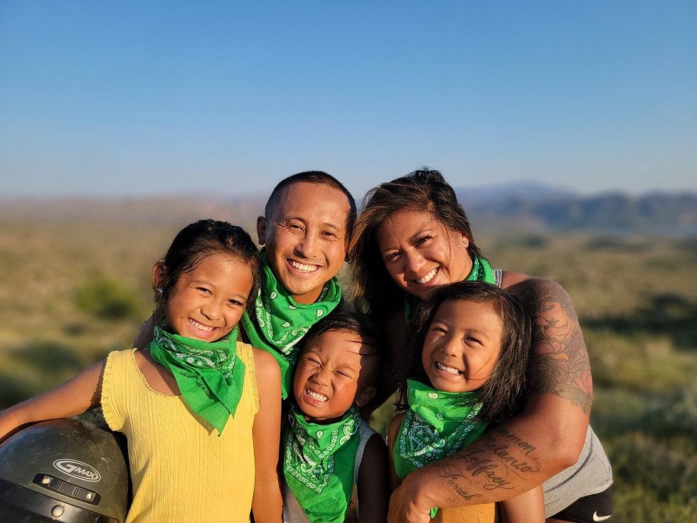 Family having fun on a UTV tour in Arizona